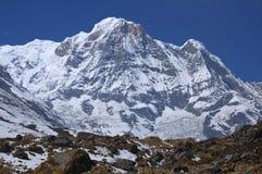 Snow mountain annapurna southern. Trekking to Annapurna Base Cam. P, Nepal royalty free stock photos