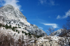 Snow Mountain. Beautiful mountain slopes winter day Royalty Free Stock Photography