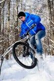 Biker snow royalty free stock photos