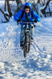 Cyclist snow royalty free stock photos