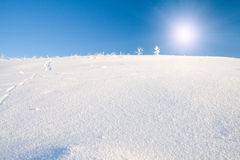 Snow mountain and blue sky Royalty Free Stock Image