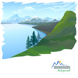 Snow Mountain and Blue Water Lake Royalty Free Stock Photography