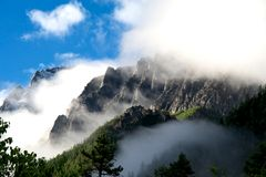 Snow mountain in cloud Stock Images
