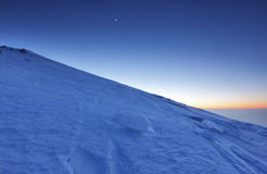 Snow mountain. Mountain snow covered at sunset Stock Photography