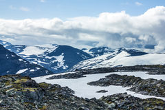 Snow mountain Dalsnibba landscape, Geiranger fjord, Norway. Royalty Free Stock Photo