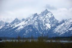 Snow mountain of Grand teton Stock Images