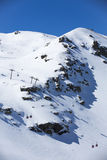 Snow mountain. Group of cable car cabins in Sierra Nevada Royalty Free Stock Images