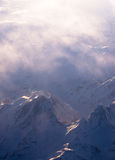 Snow mountain with haze. From the top Royalty Free Stock Photo