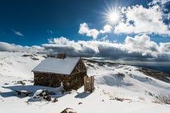 Snow mountain. A house on snow mountain Royalty Free Stock Image