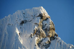 Snow mountain in Huascaran, Santa Cruz trek in Peru royalty free stock photos