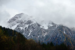Snow mountain in Jiuzhaigou. Snow mountain near Long lake, Jiuzhaigou valley Stock Image