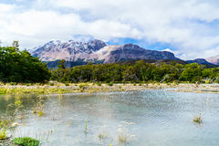 Snow mountain and lake