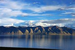 Snow Mountain and Lake Manasarovar Stock Photo
