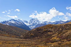 Snow mountain landscape in autumn stock images