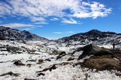 Snow mountain in morning. This is Gangtok at Sikkim in India Royalty Free Stock Image