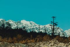 Snow mountain in North Sikkim. India stock photography