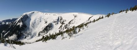 Snow mountain panorama royalty free stock photos