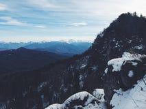 Snow mountain panorama and blue sky Royalty Free Stock Photos