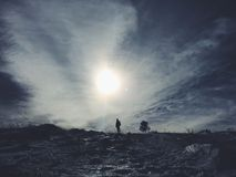 Snow mountain panorama and blue sky Royalty Free Stock Photo