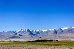 Snow mountain range in Changthang Plateau, Ladakh, Jammu and Kashmir, India Royalty Free Stock Image