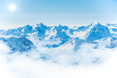 Snow Mountain Range Landscape with Blue Sky from Jungfrau Region Royalty Free Stock Image