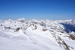 Snow Mountain Range Landscape in Austria Stock Image