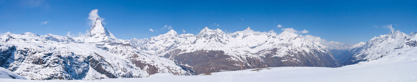 Snow Mountain Range Matterhorn. Panorama of Snow Mountain Range Landscape at Matterhorn Peak Alps Alpine Region Switzerland Stock Image