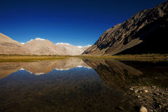 Snow mountain range and reflection Leh Ladakh Royalty Free Stock Photography