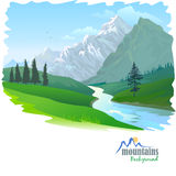 Snow Mountain and River. Among tall pine trees Stock Image