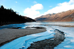 Snow mountain and river Royalty Free Stock Image
