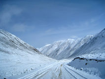 Snow mountain with road Stock Image