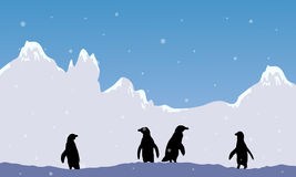 Snow mountain scenery with penguin silhouette Royalty Free Stock Photos