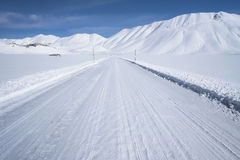 Snow mountain scenery , winter road, Stock Photo