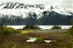Snow Mountain Seward Highway Anchorage Alaska Royalty Free Stock Images