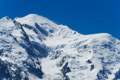 Snow mountain slope and glacier cracks Stock Images