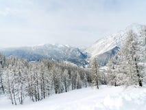 Snow mountain slope in skiing region Via Lattea Stock Photo