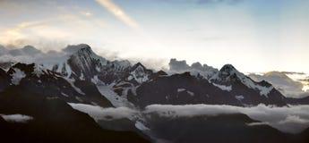 Snow mountain on sunset Stock Image