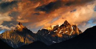 Snow Mountain in sunset. The Snow Mountain in sunset stock images