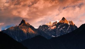 Snow Mountain in sunset Royalty Free Stock Image