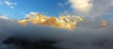 Snow mountain in sunset  Stock Photo