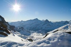 Snow mountain sunshine Royalty Free Stock Photography