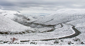 Snow mountain of Tibet. Bend roads in the snow mountains of Tibet in China Stock Images