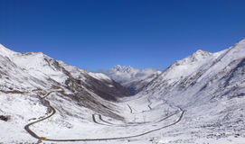 Snow mountain of tibet. Road among snow mountain in tibet plateau Royalty Free Stock Photography