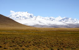Snow mountain in tibet. A distant view of mountain Shishapangma in Tibet Stock Images