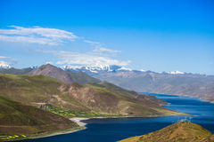 Snow Mountain in Tibet. The view from Yang Lake Stock Photo
