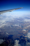 Snow mountain from top. Top view of snow mountains from air plane Royalty Free Stock Photos