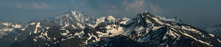 Snow mountain tops. Mount Zakzan-Syrt and mount Pshish. Royalty Free Stock Image