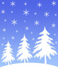 Snow mountain trees. Snow flakes and trees on mountain stock illustration