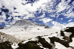 Snow mountain under the blue sky Stock Images
