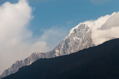 Snow mountain view with blue sky Royalty Free Stock Photography